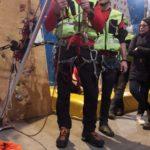 Recupero arrampicatore domiostrazione CNSAS SudEst Climb